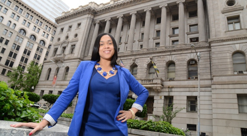 5.14.14- Marylin Mosby, candidate for Baltimore City States Attorney who is running against Gregg Bernstein. Portraits outside of the Baltimore City Circuit Courthouse. (The Daily Record/Adam Bednar)